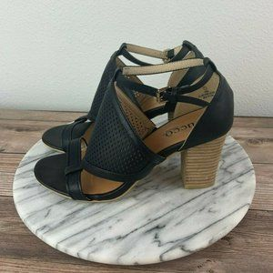 Bucco Vibbie Black Perforated Leather Sandals
